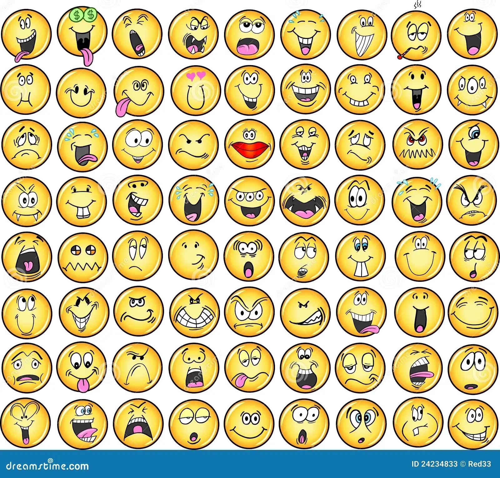 Icones Do Vetor Da Emocao Dos Emoticons Fotos De Stock