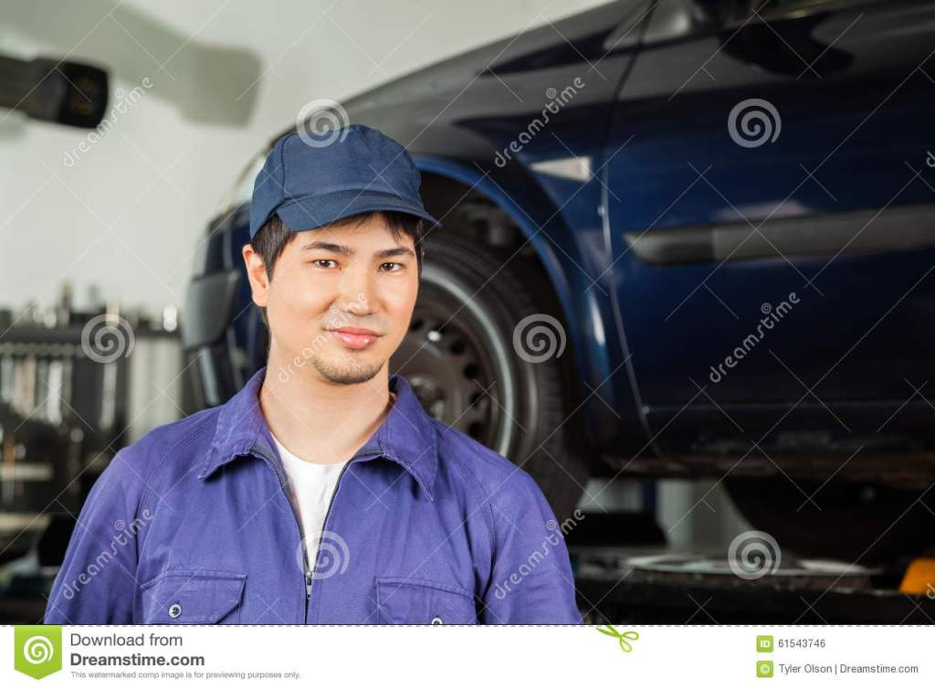 Confident Mechanic Standing At Repair Shop Stock Photo Image Of Occupation Entrepreneur 61543746
