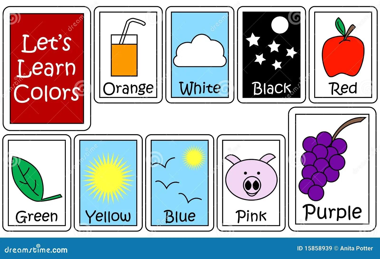 Conjunto De Color Flashcards Imagenes De Archivo Libres De