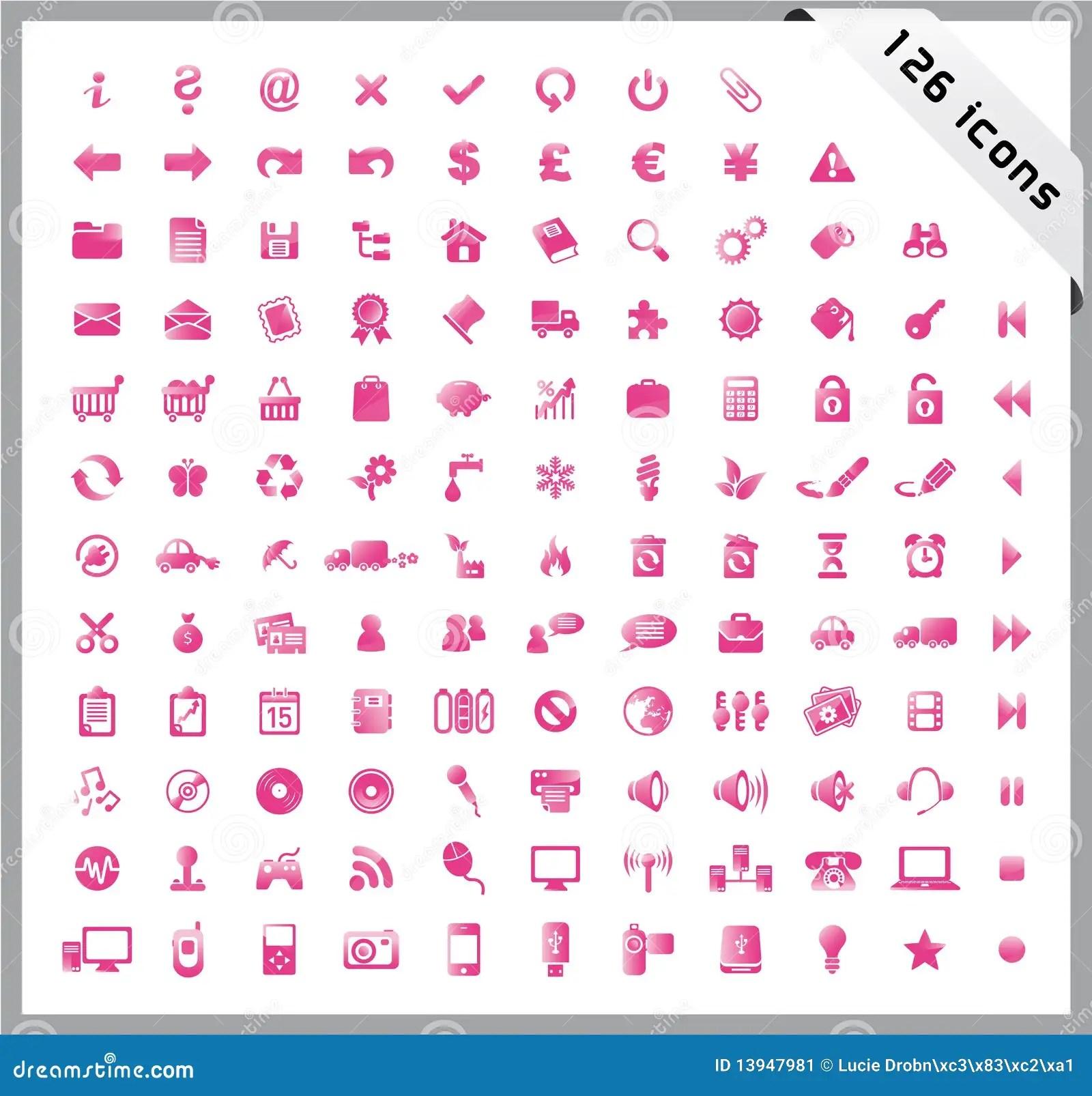 Conjunto Del Color De Rosa De 126 Iconos Brillantes Imagen
