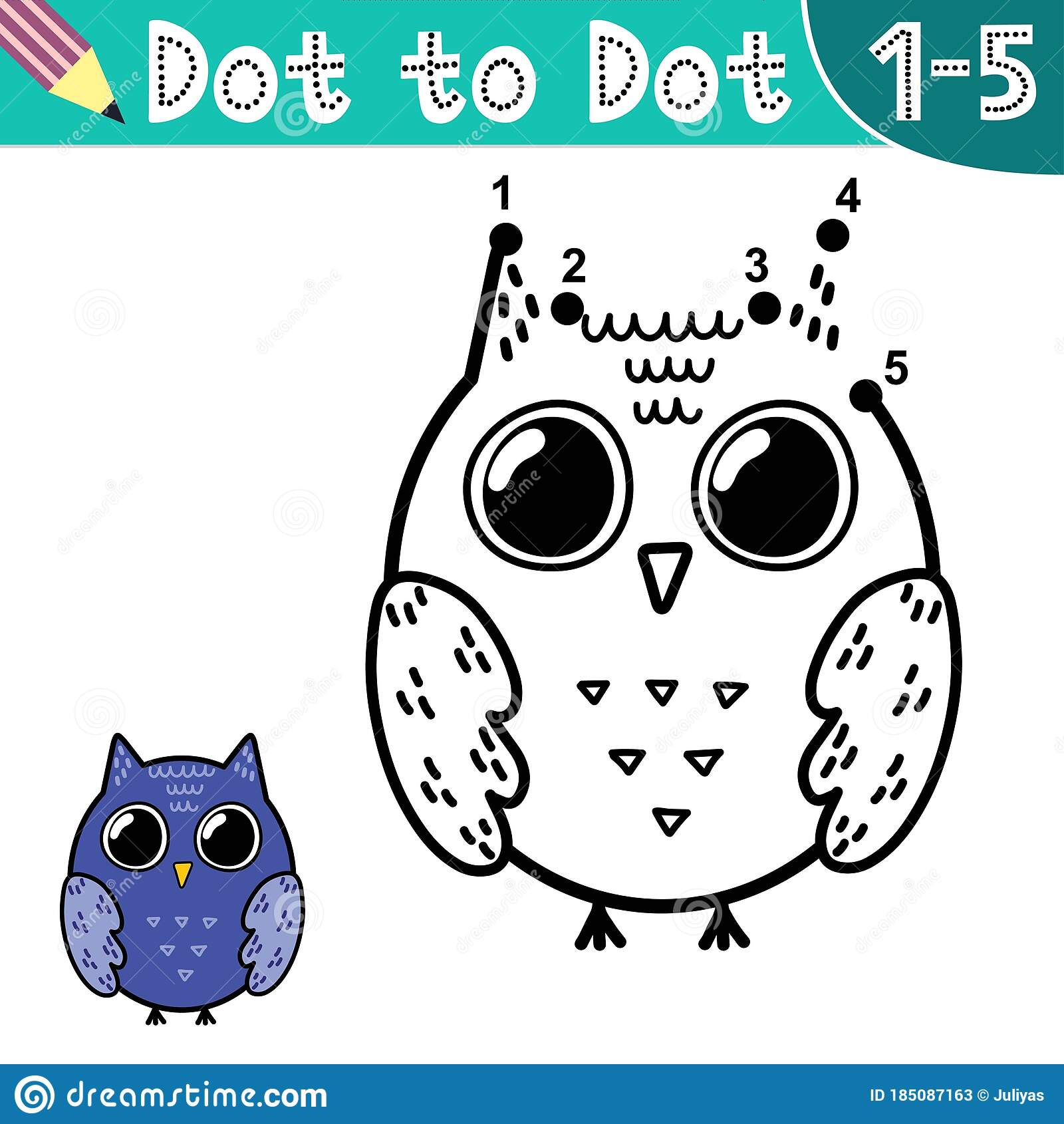 Connect The Digits And Draw A Funny Owl Stock Vector