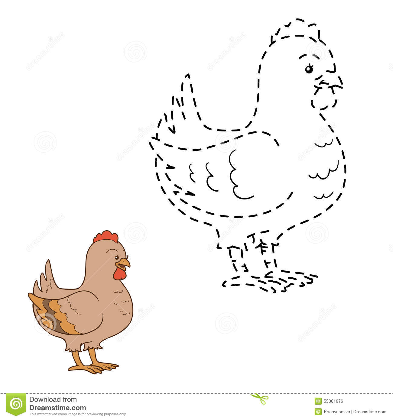 Connect The Dots Chicken Stock Vector Illustration Of