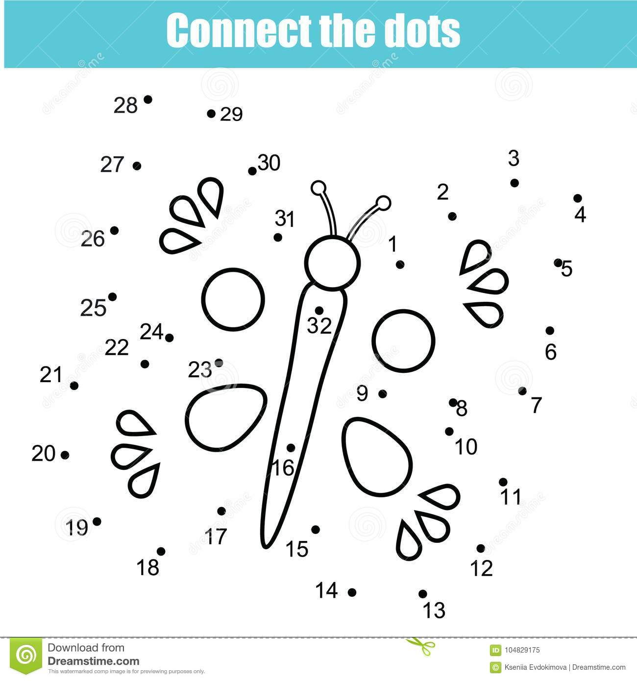 Connect The Dots By Numbers Children Educational Game Printable Worksheet Activity Butterfly
