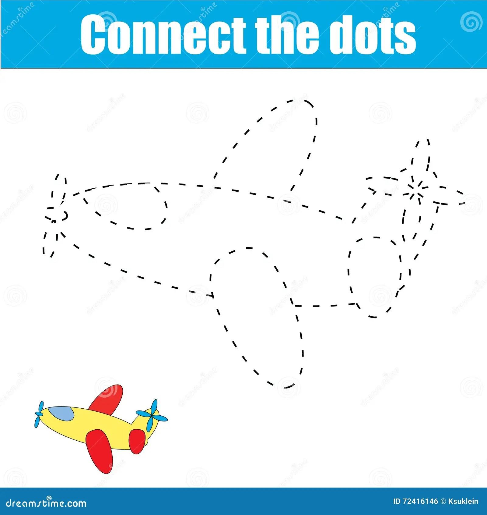Cartoon Plane Dot To Dot Game For Kids Cartoon Vector