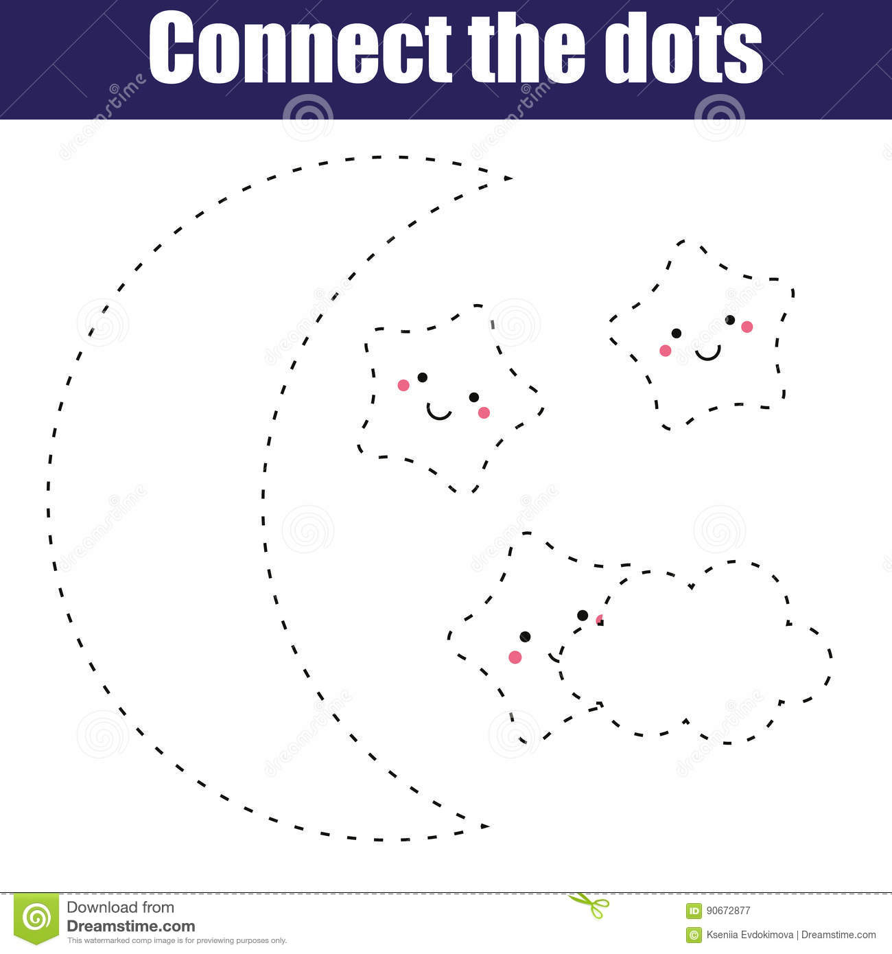 Connect The Dots Children Educational Game Printable Activity Worksheet Night Moon And Cute