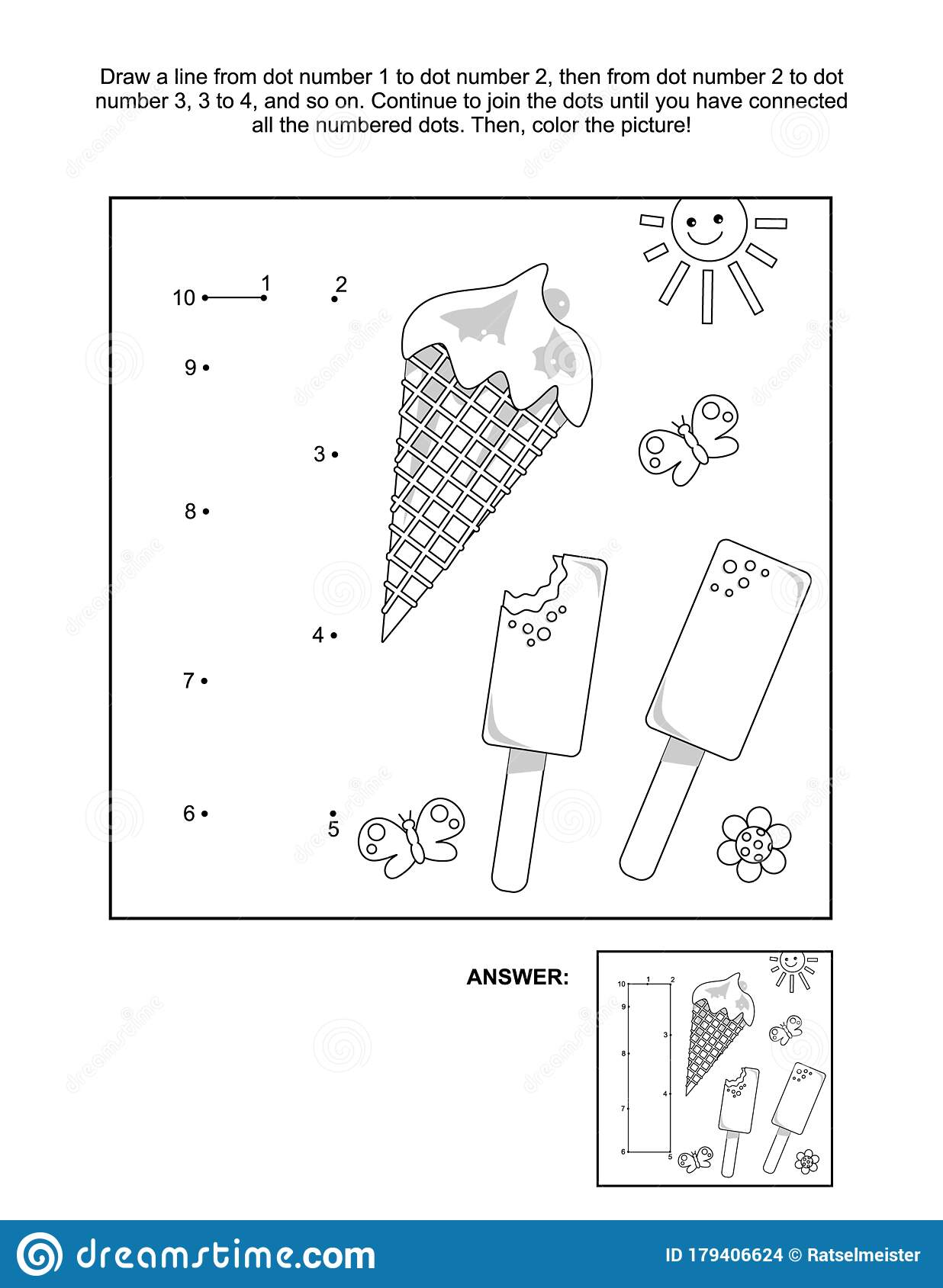 Connect The Dots And Coloring Page With Letter I And Ice