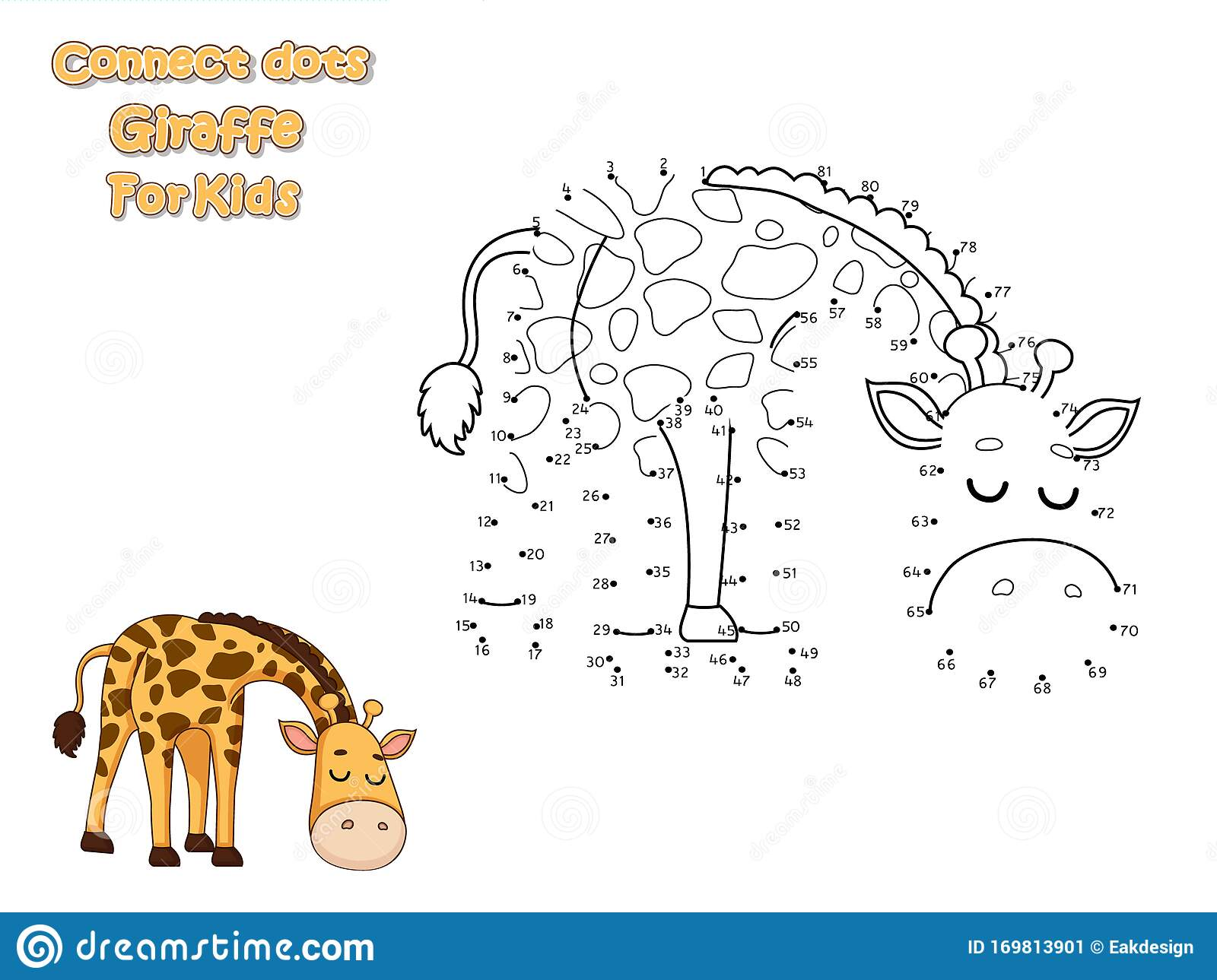 Connect The Dots And Draw Cute Cartoon Giraffe