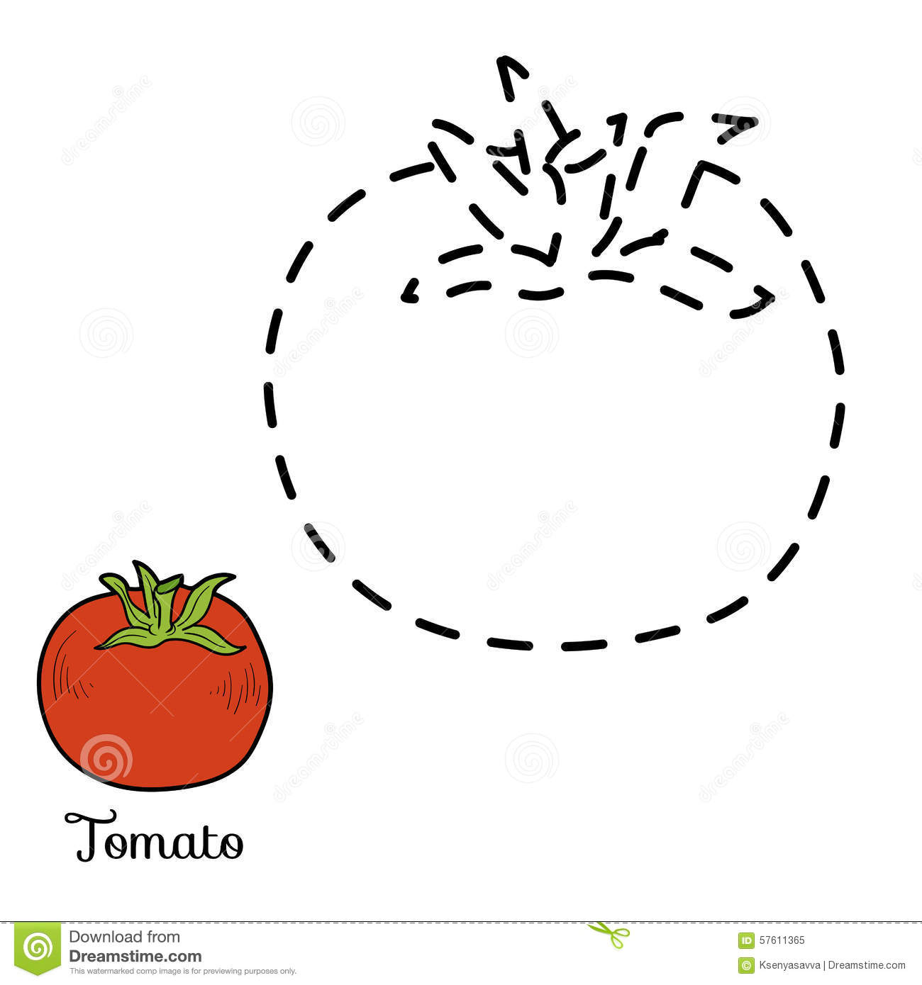 Connect The Dots Fruits And Vegetables Tomato Stock
