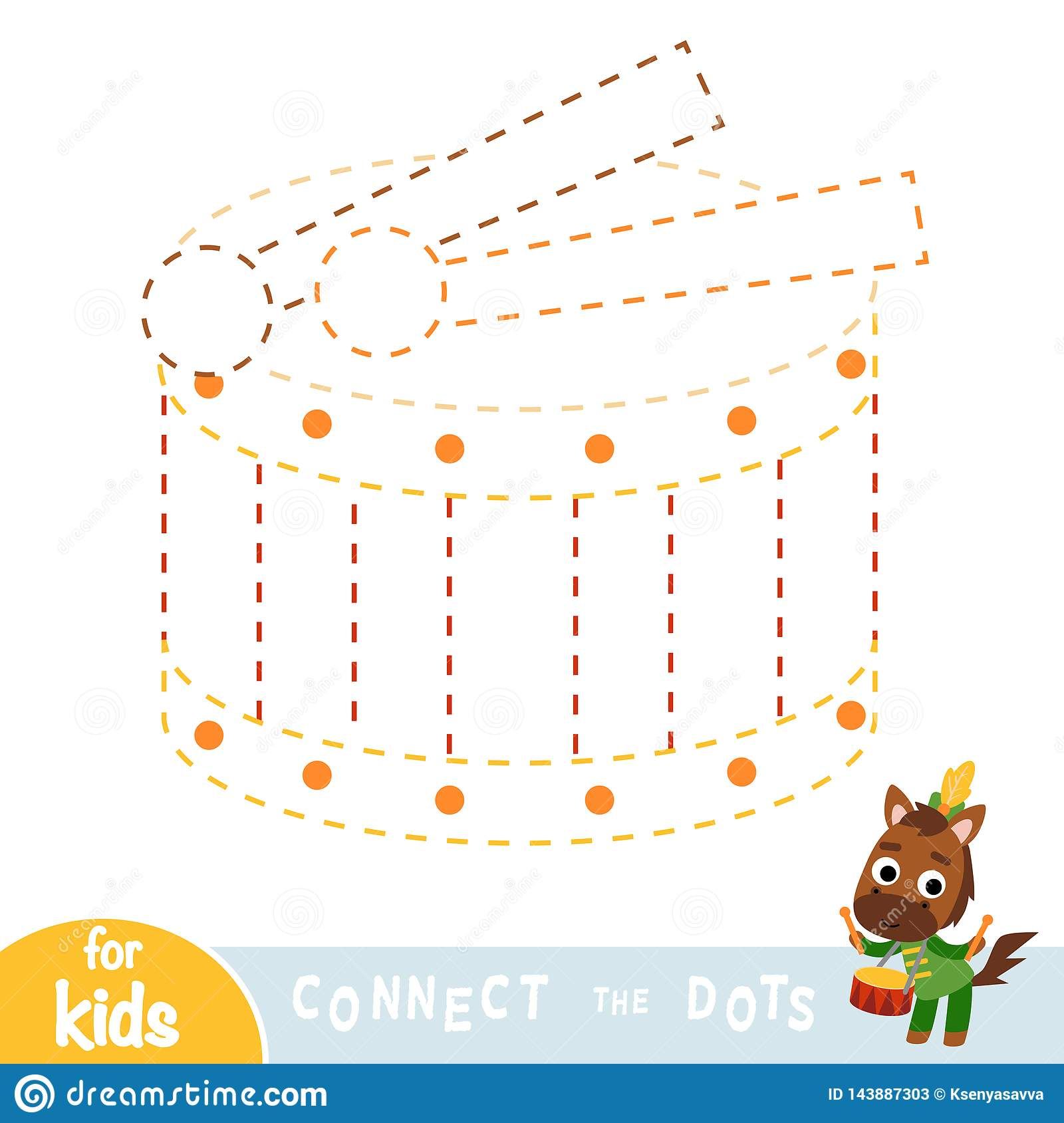 Connect The Dots Game For Children Drum Stock Vector