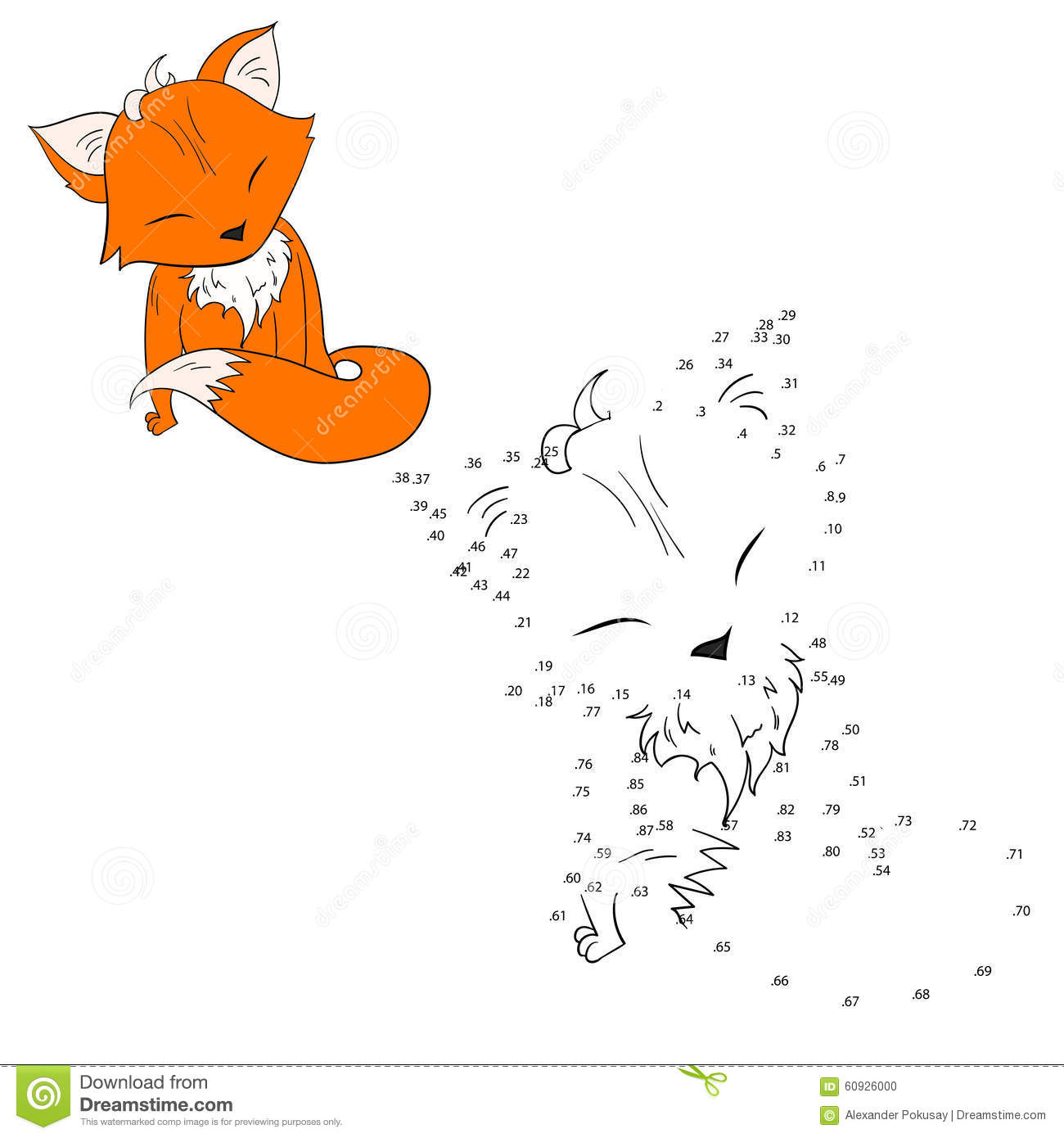 Connect The Dots Game Fox Vector Illustration Stock Vector