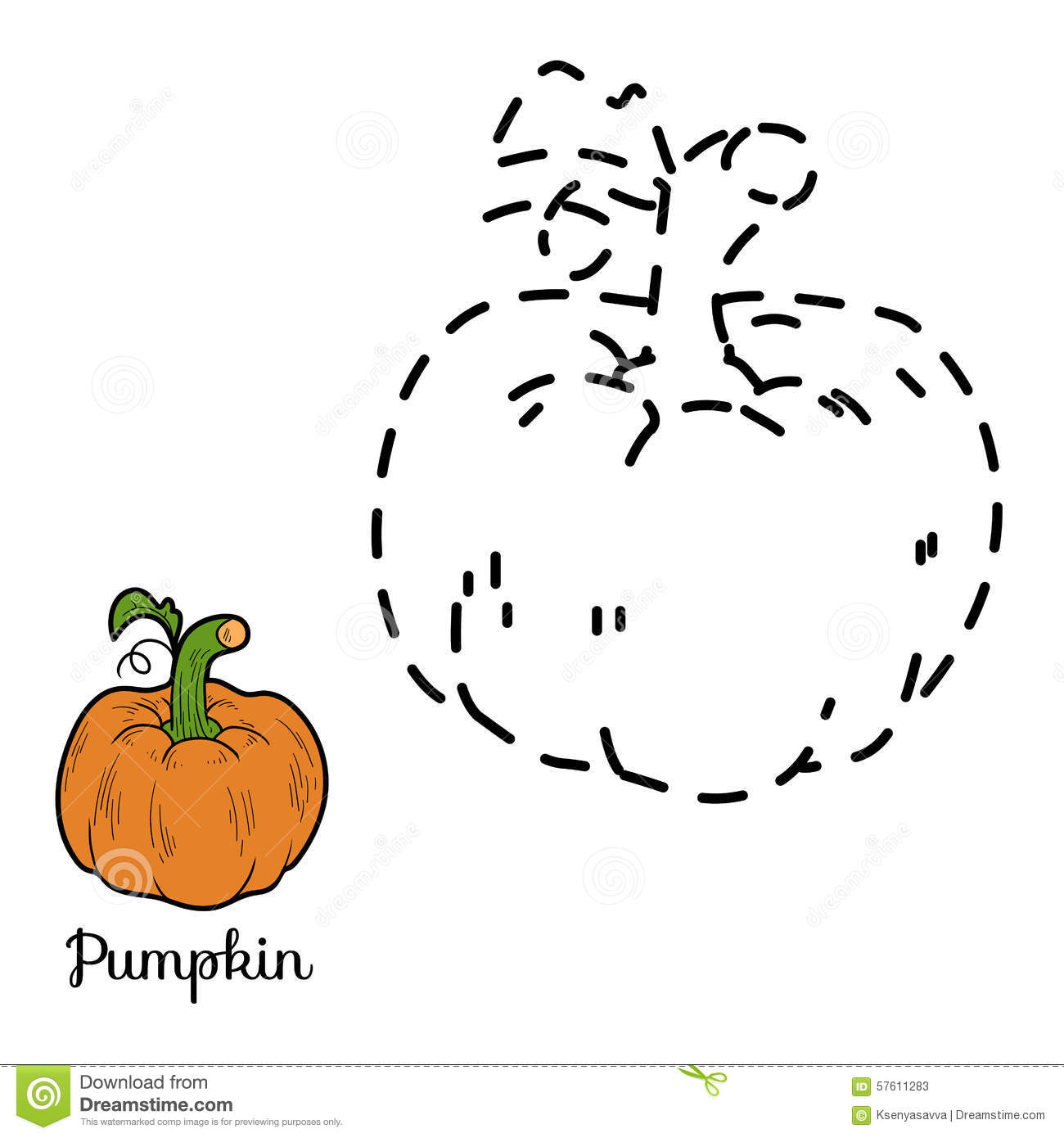 Connect The Dots Game Fruits And Vegetables Pumpkin