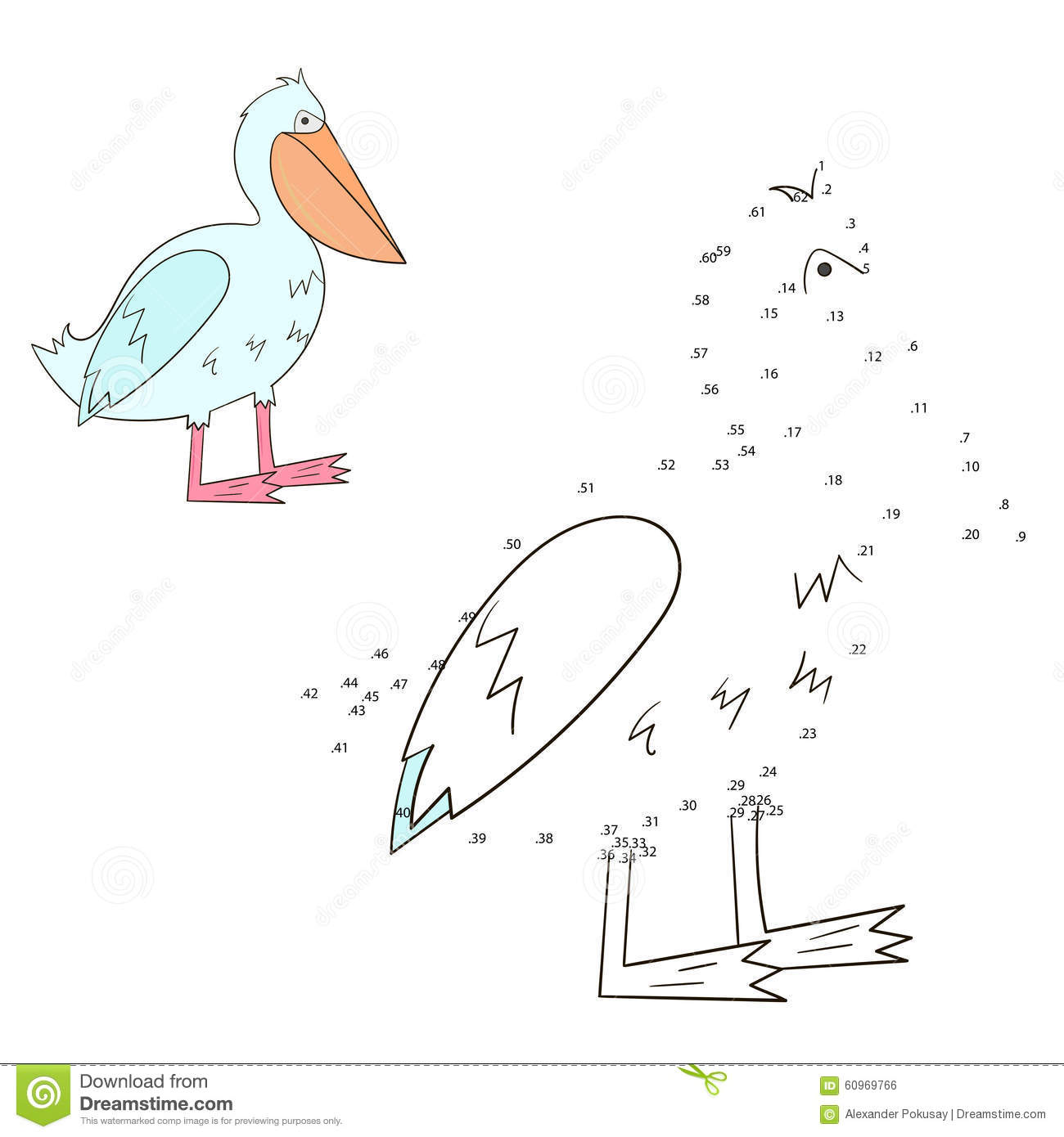 Connect The Dots Game Pelican Vector Illustration Stock Vector