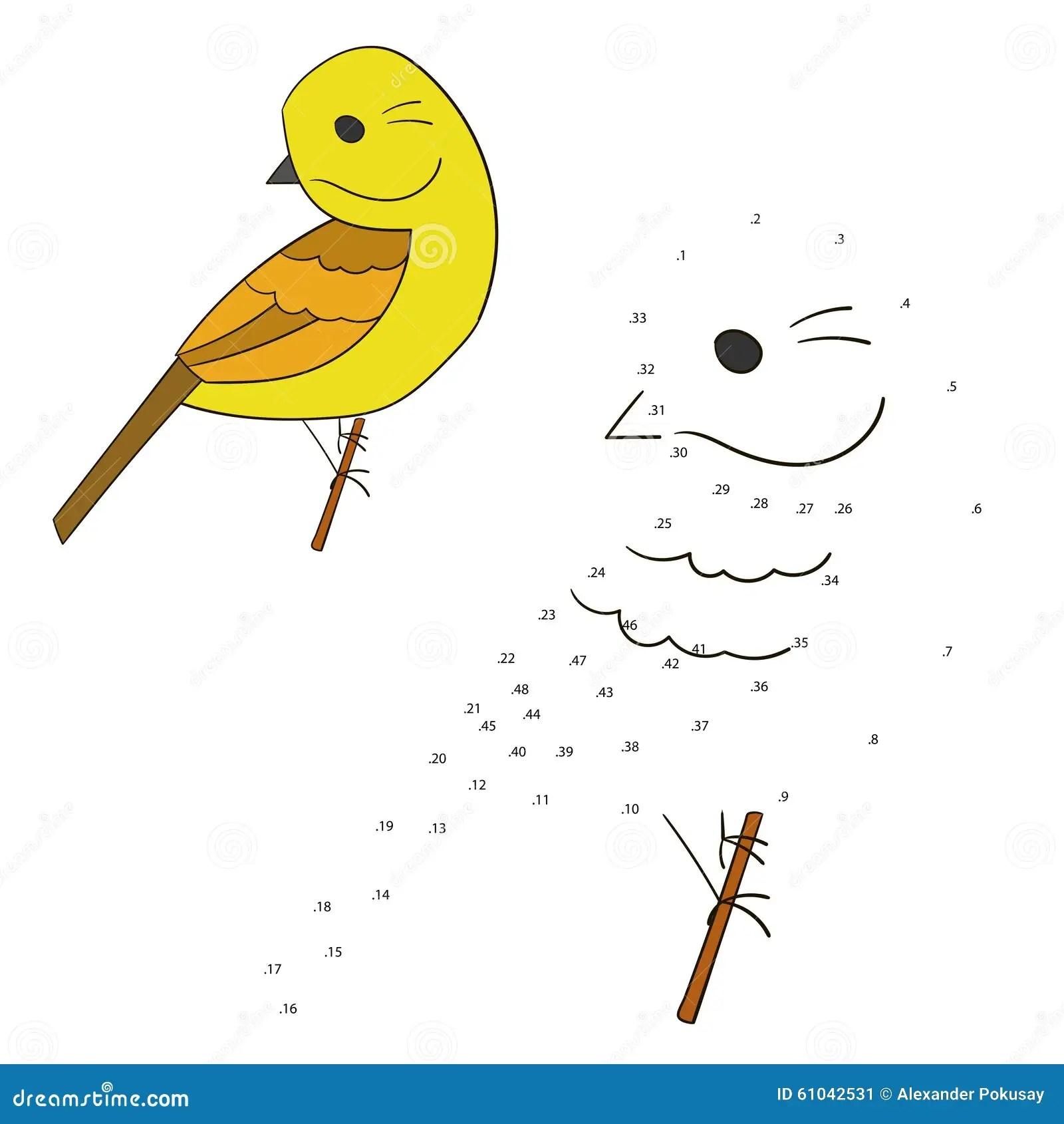 Connect The Dots Game Yellowhammer Bird Vector Stock Vector