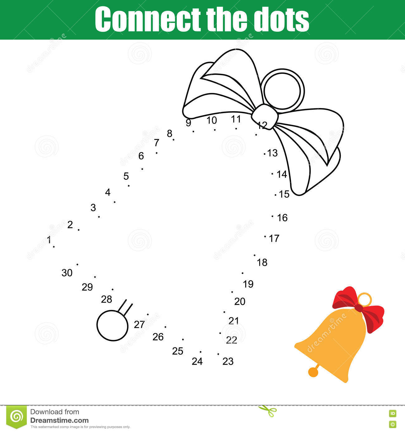 Connect The Dots Numbers Children Educational Game Stock Vector