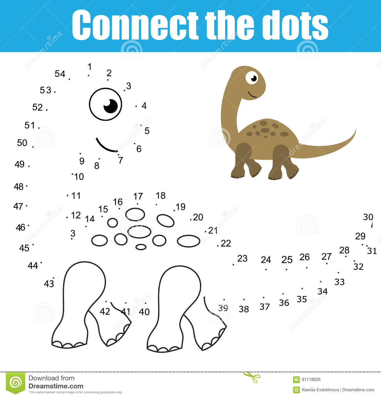 Connect The Dots By Numbers Children Educational Game Printable Worksheet Activity Animals