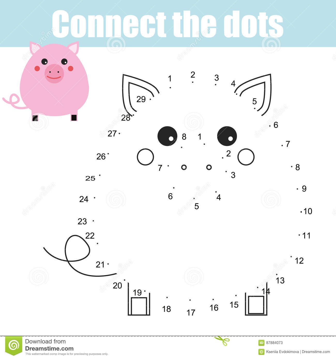 Numbers With Cartoon Animals For Coloring Vector Illustration