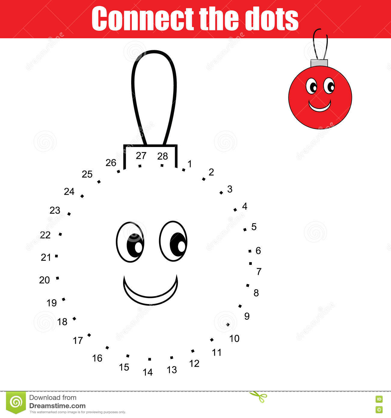 Connect The Dots Numbers Children Educational Game Printable Worksheet Activity Christmas