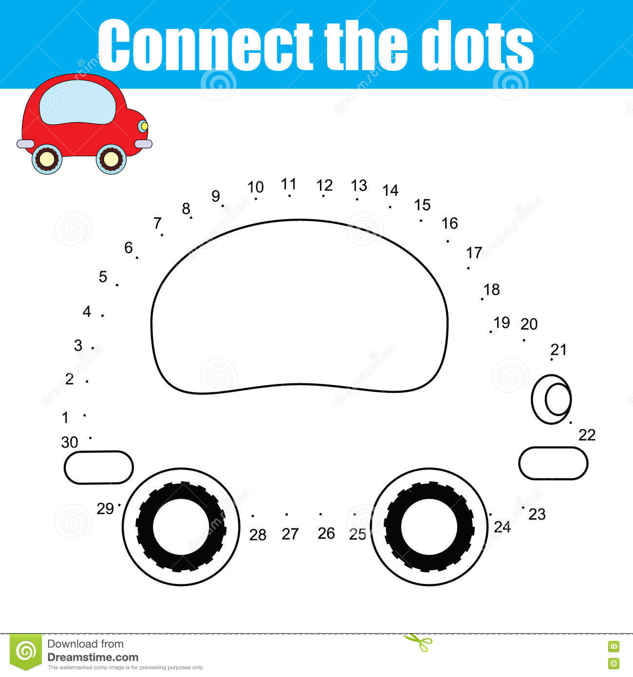 Connect The Dots Numbers Children Educational Game Printable Worksheet Activity Stock Vector