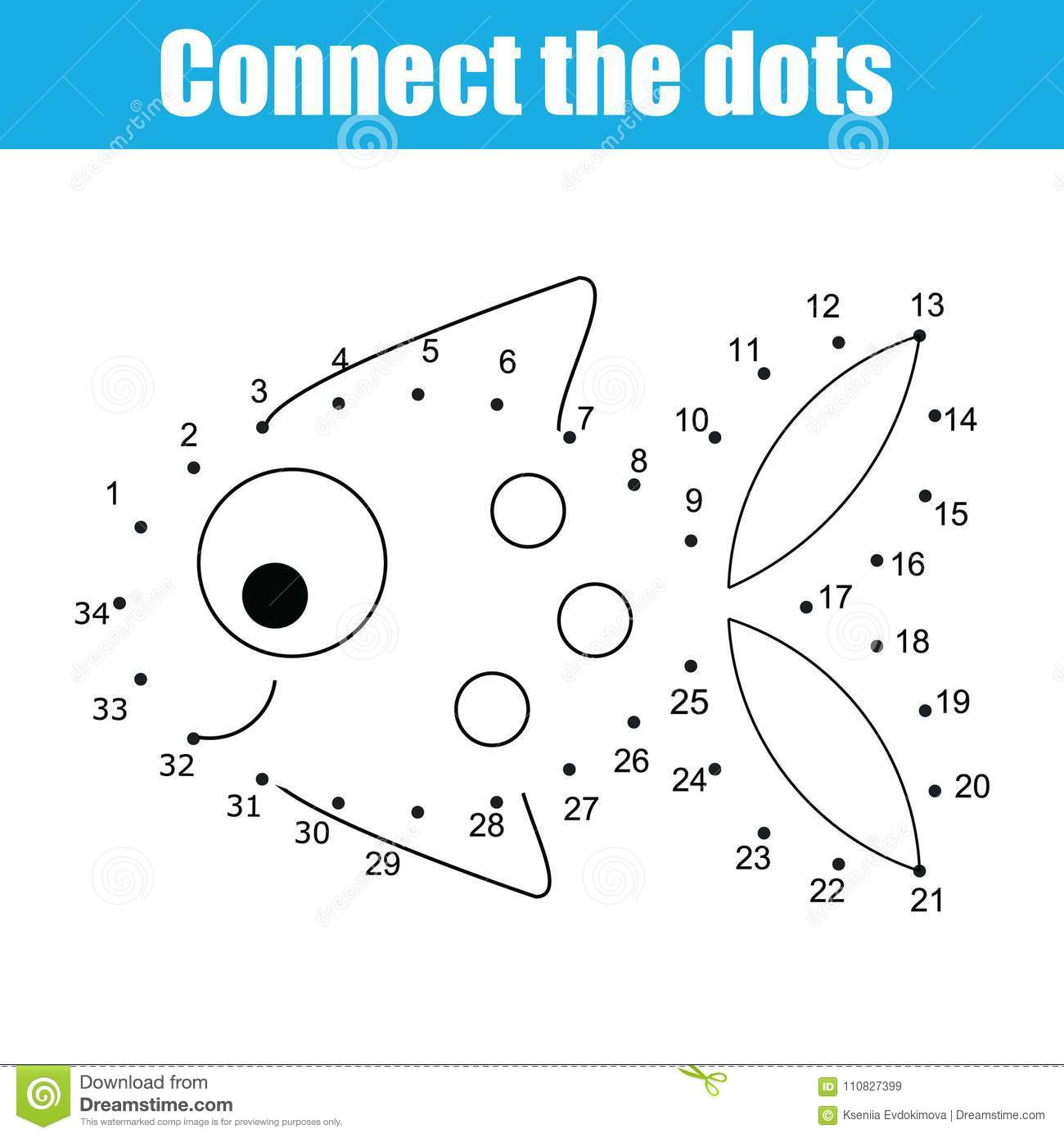 Connect The Dots By Numbers Children Educational Game Printable Worksheet Activity Fish Stock