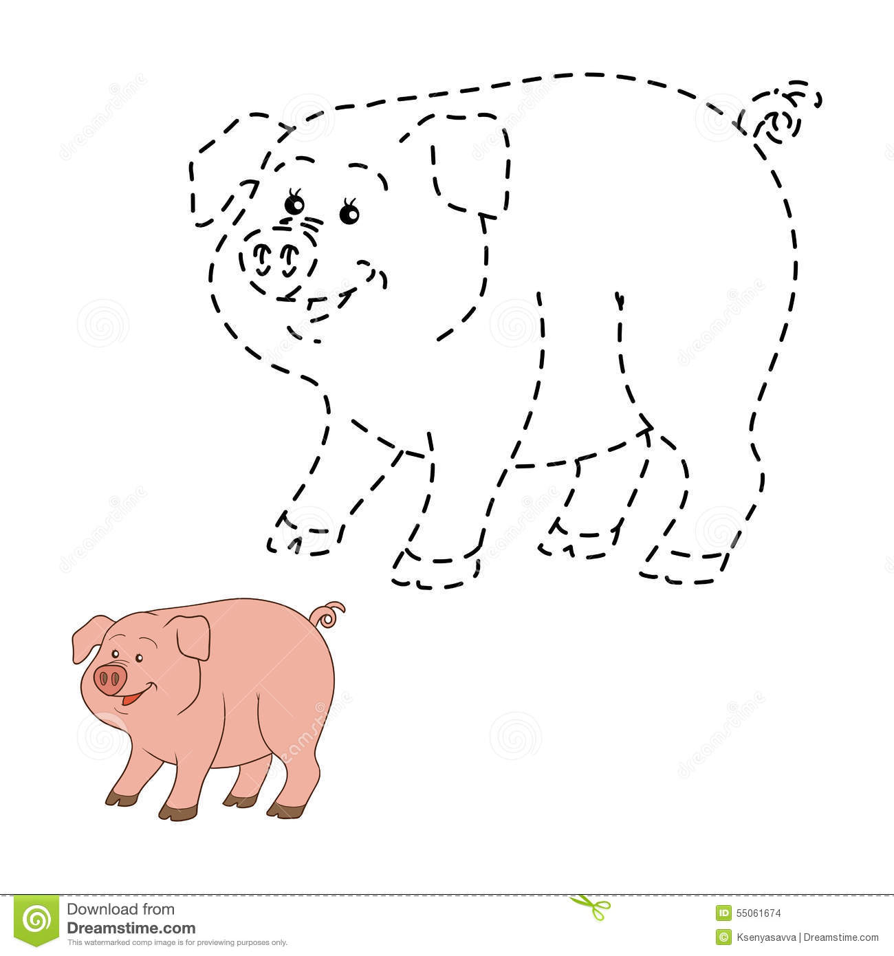 Connect The Dots Pig Stock Vector Illustration Of Instructive
