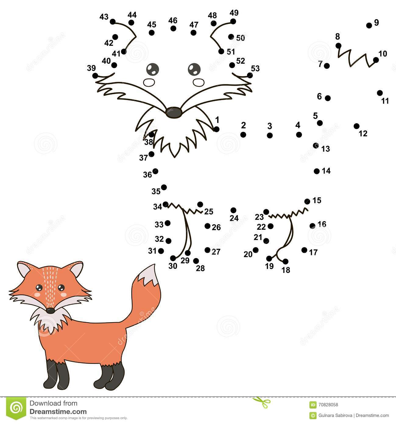 Connect The Dots To Draw A Cute Fox And Color It Stock