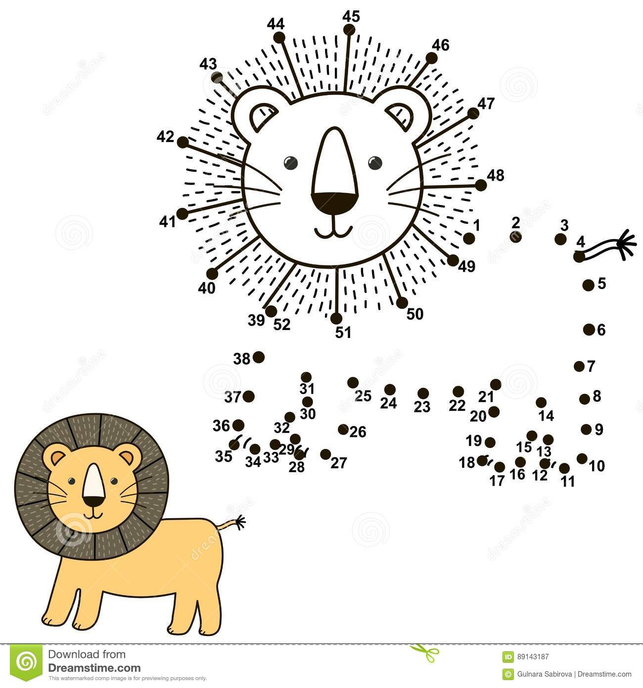 Connect The Dots To Draw The Cute Lion And Color It Stock