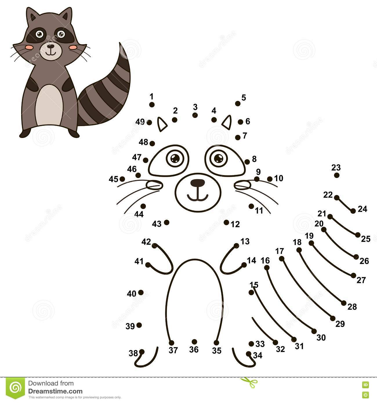 Connect The Dots To Draw The Cute Raccoon And Color It