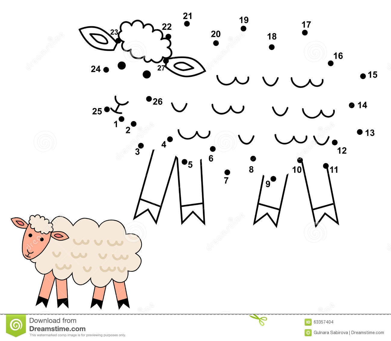 Connect The Dots To Draw The Cute Sheep Stock Vector