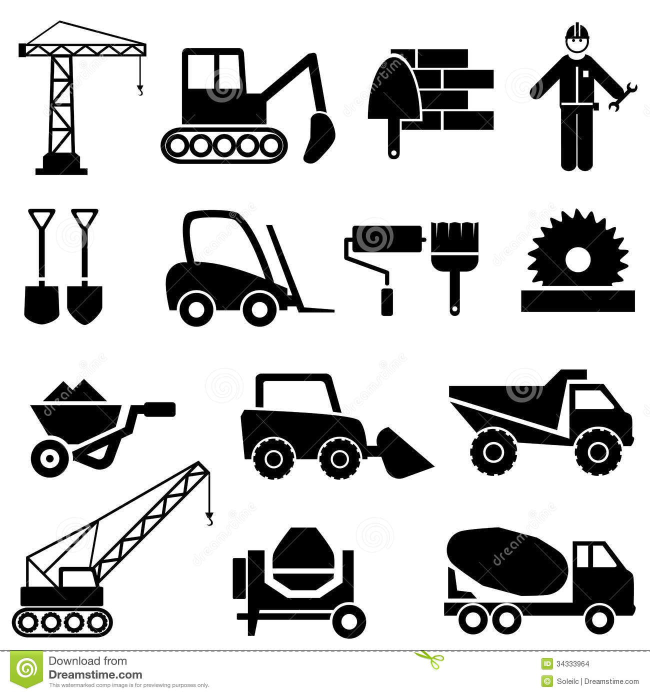 Construction And Industrial Machinery Icons Stock Vector