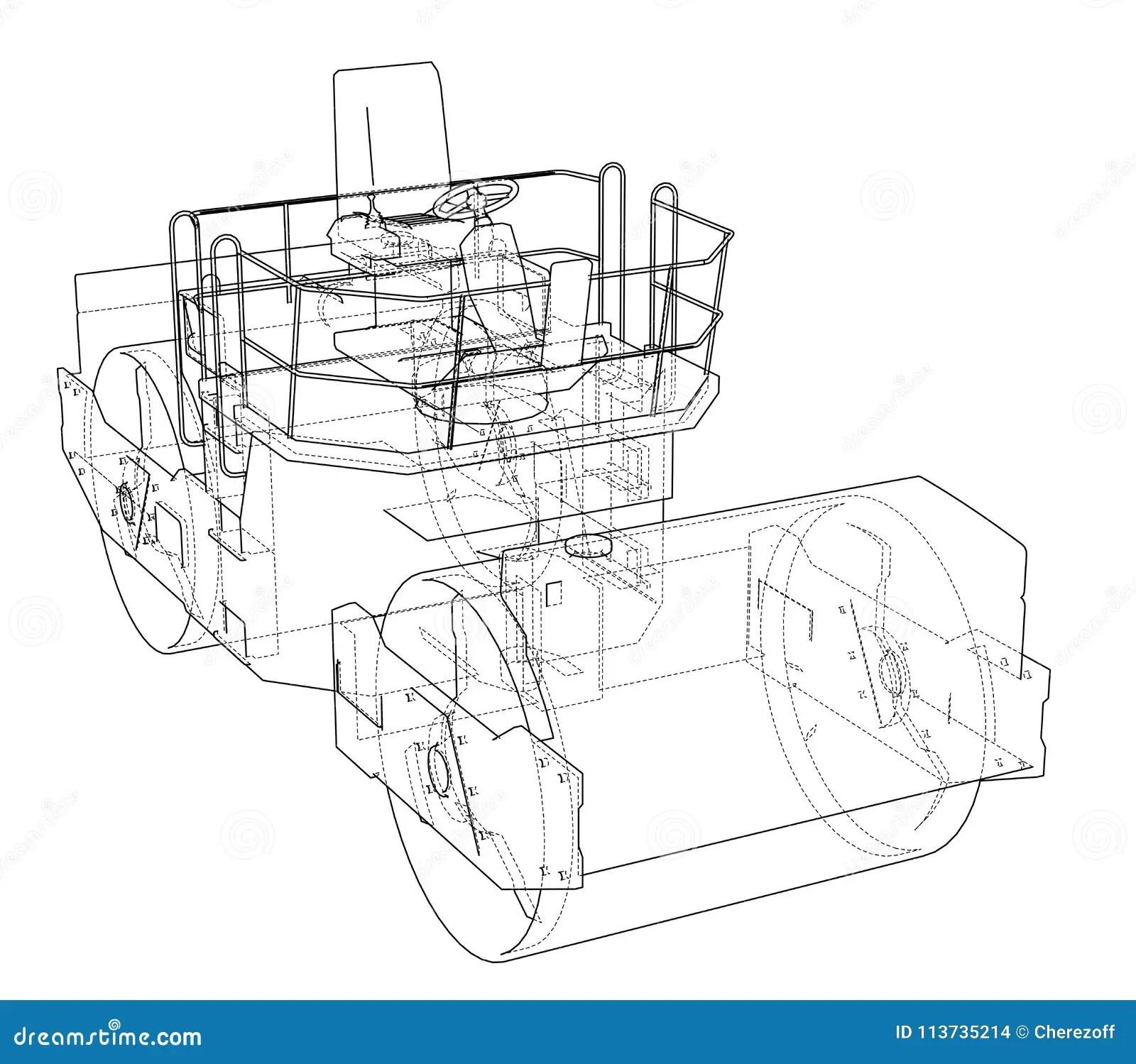 Asphalt Compactor Outlined Vector Stock Vector