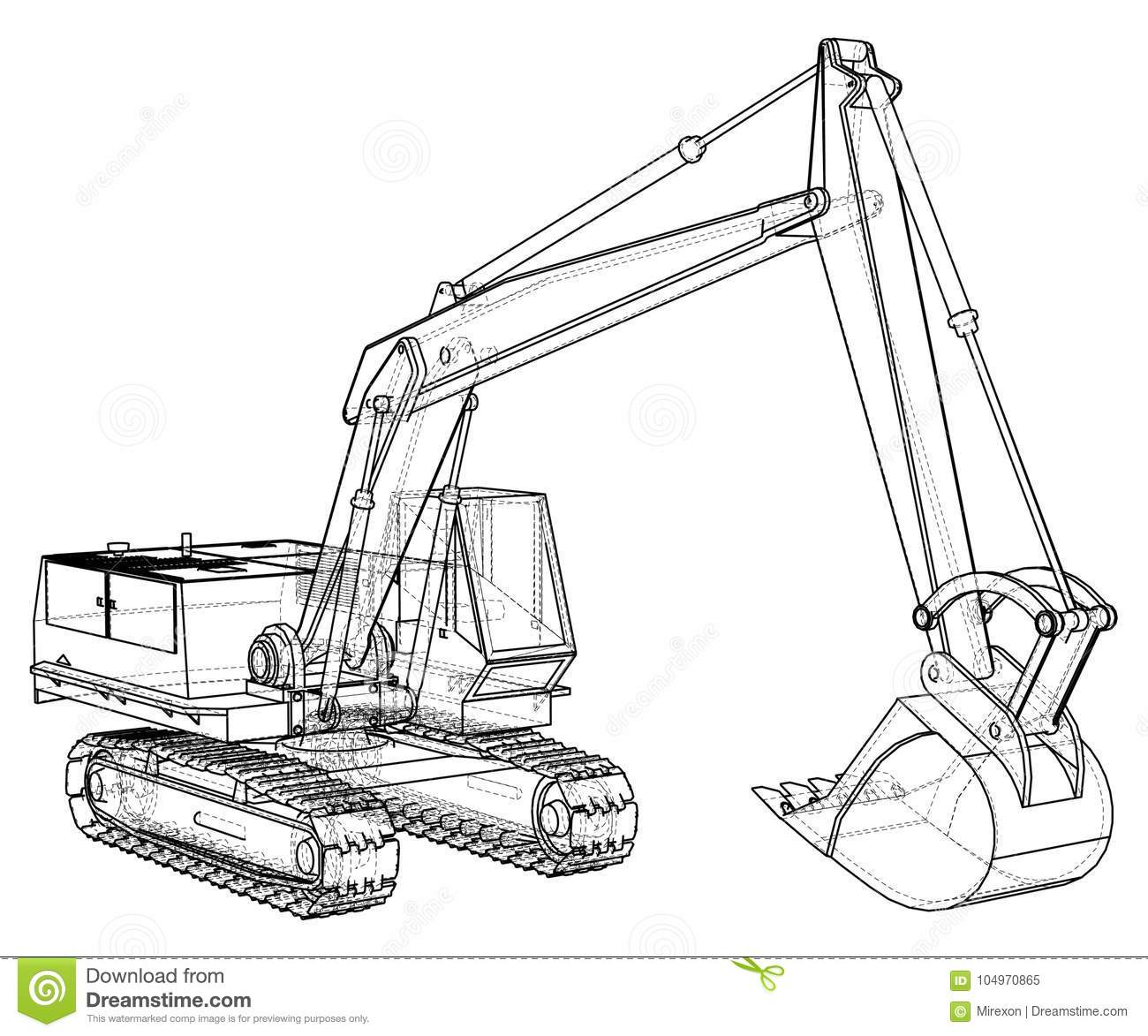 Construction Machine Vehicle Excavator Eps10 Format