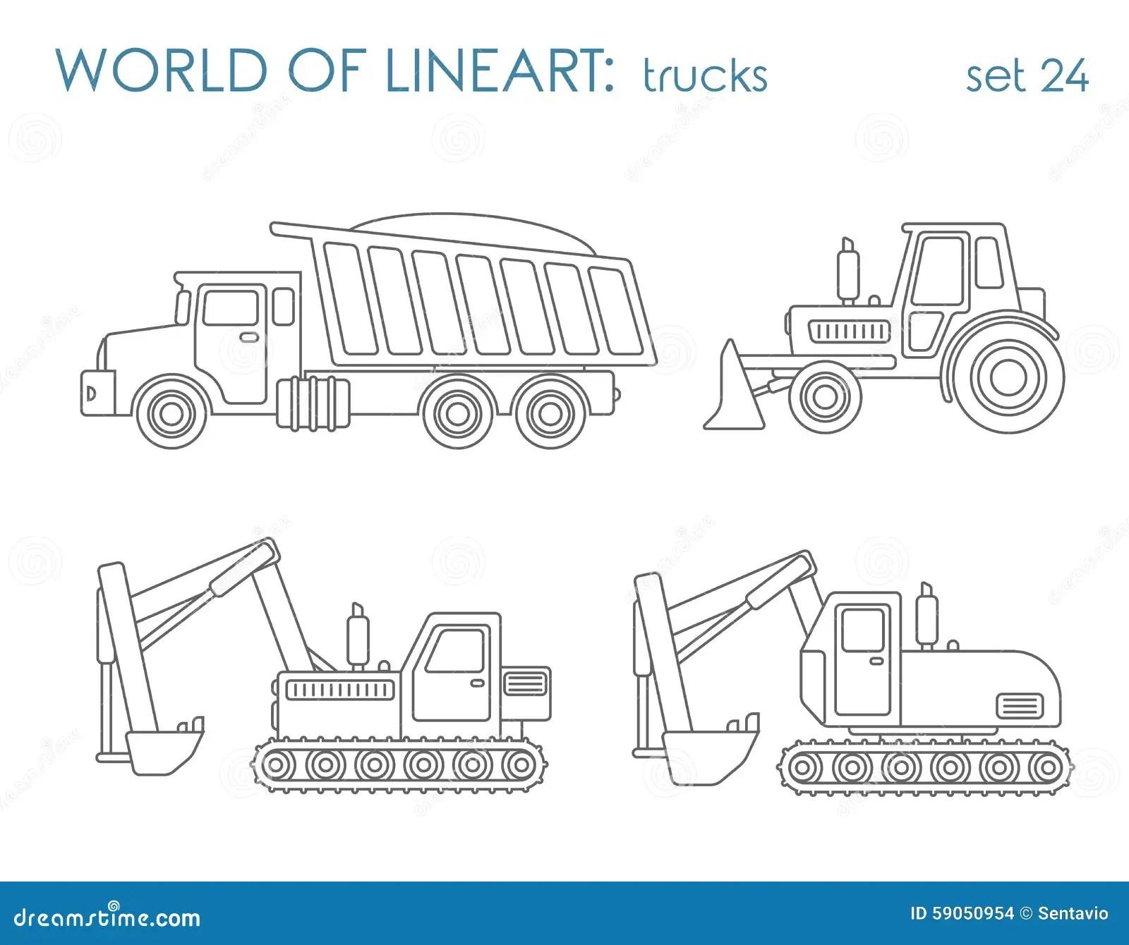 Construction Transport Line Art Vector Excavator Tractor
