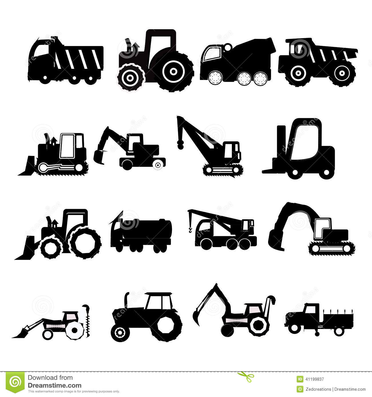 Construction Vehicles Stock Vector Illustration Of Dozer