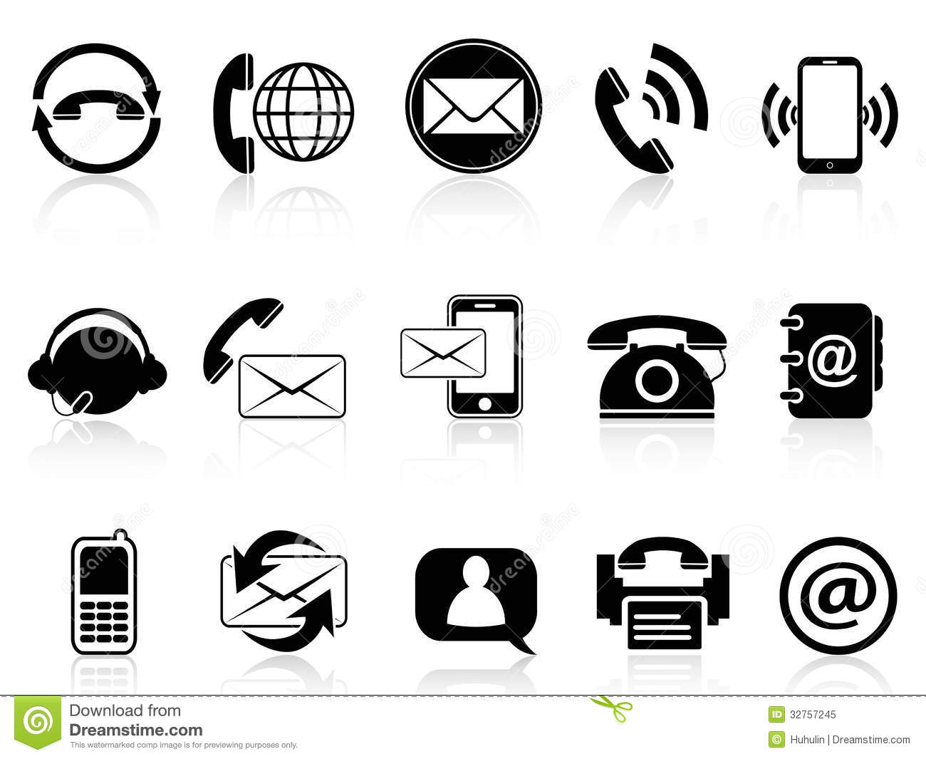 Contact Icons Set Stock Vector Illustration Of Letter