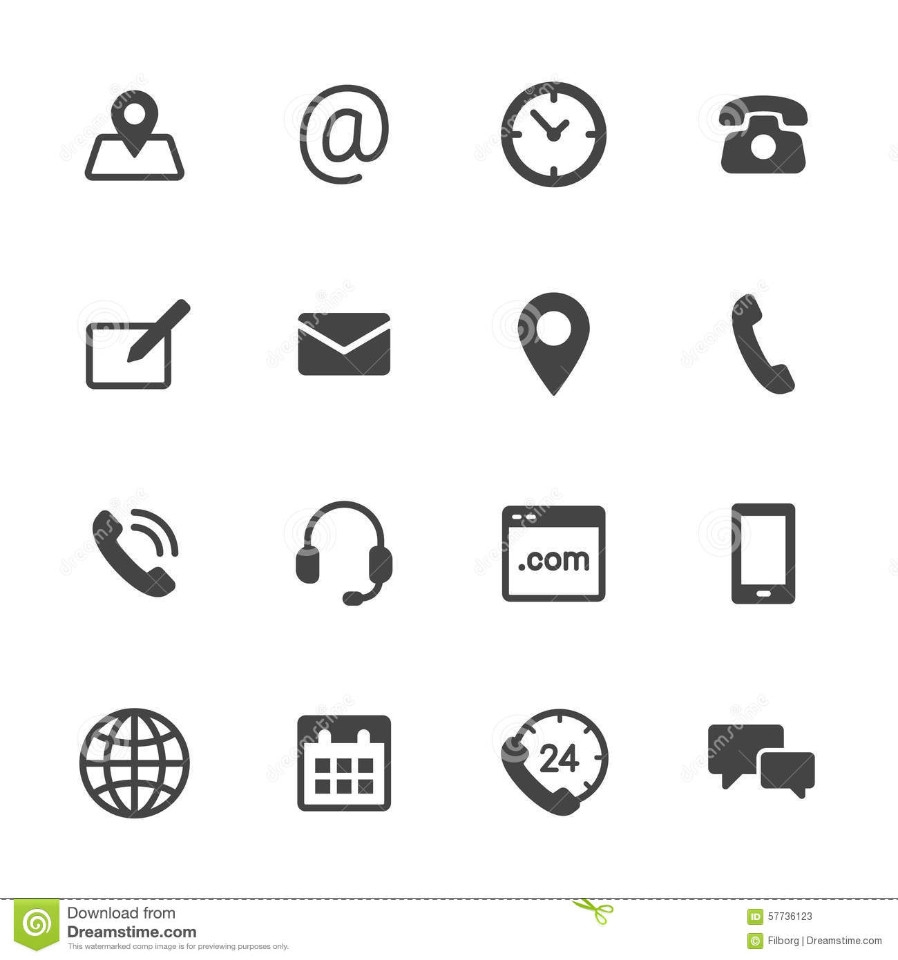 Contact Icons Stock Vector Illustration Of Clock Phone