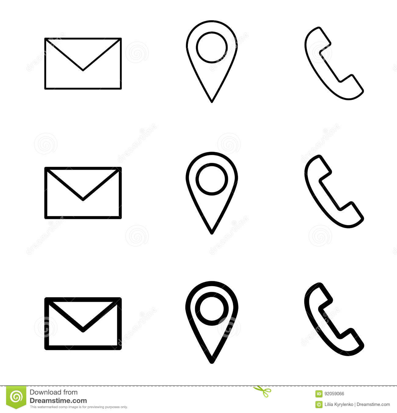 Contact Line Web Icons Mail Telephone And Location Stock