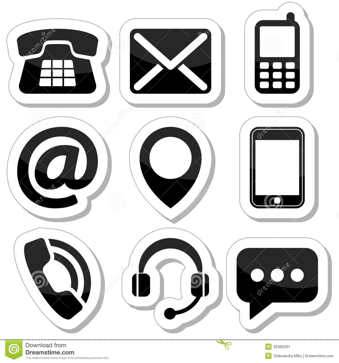 Contact Us Icons As Labels Stock Vector Illustration Of