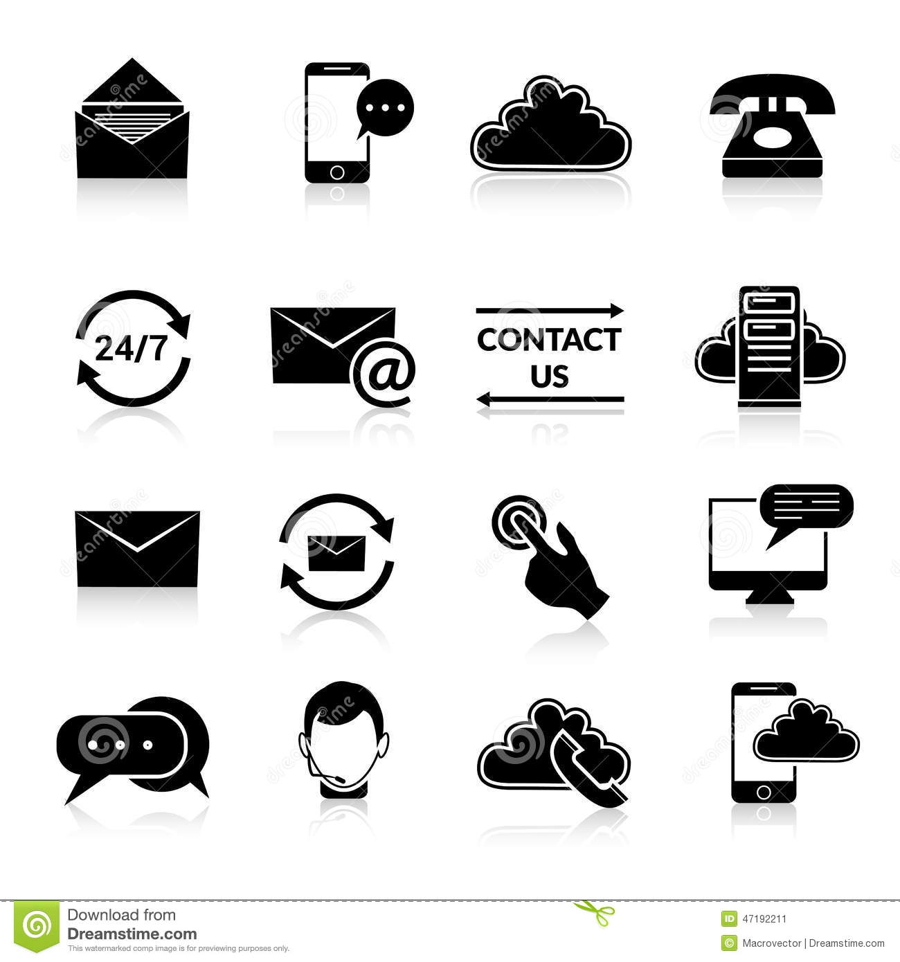 Contact Us Icons Set Stock Vector Illustration Of Contact