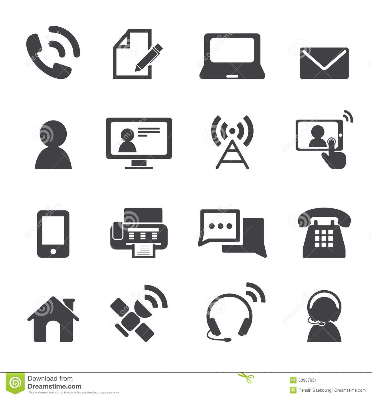 Contact Us Icons Stock Vector Illustration Of Mail Icon