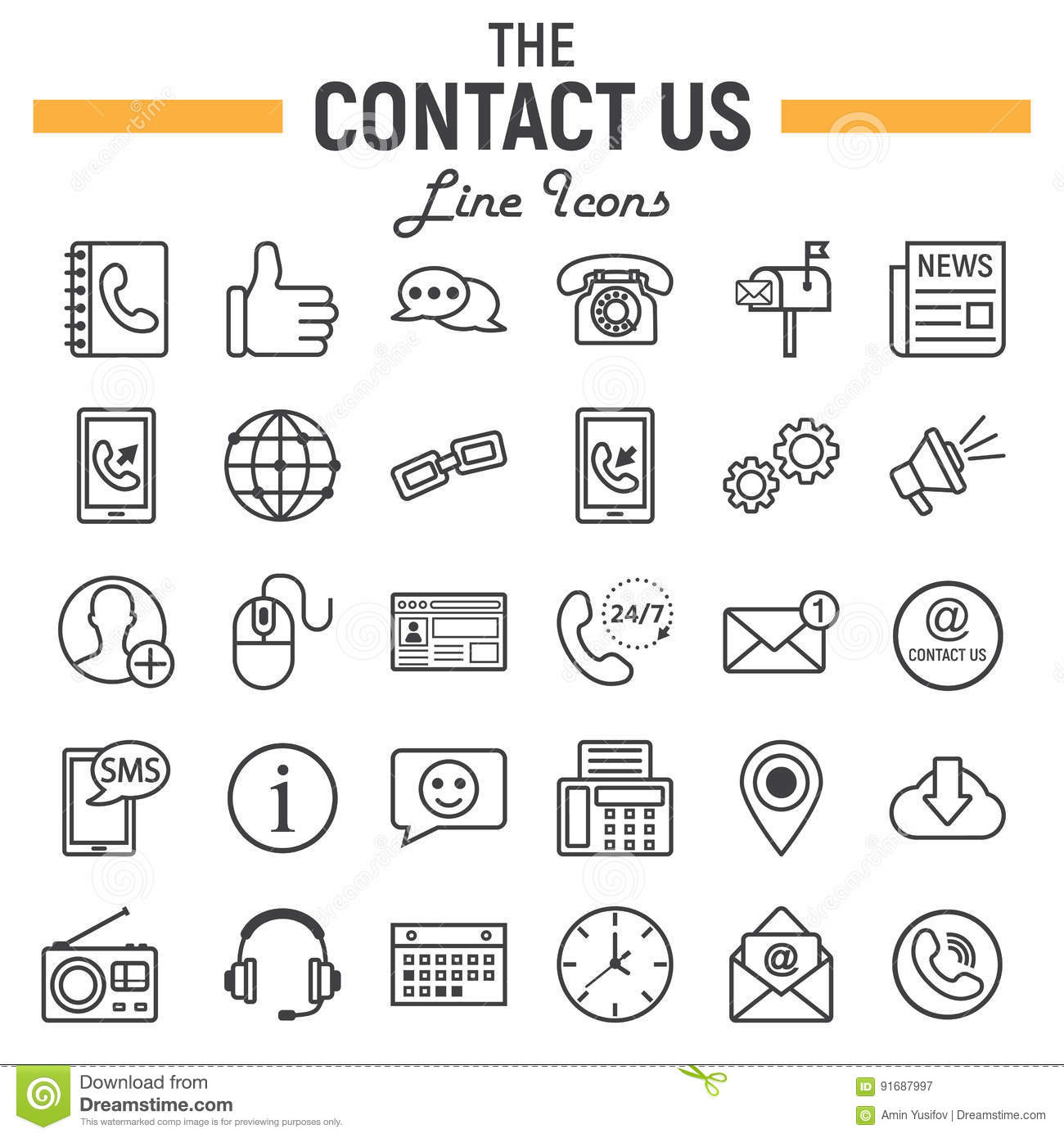 Contact Us Line Icon Set Web Button Signs Stock Vector