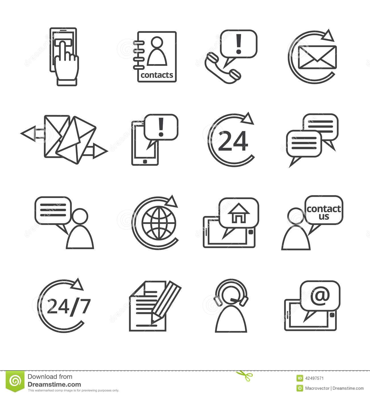 Contact Us Service Icons Stock Vector Illustration Of