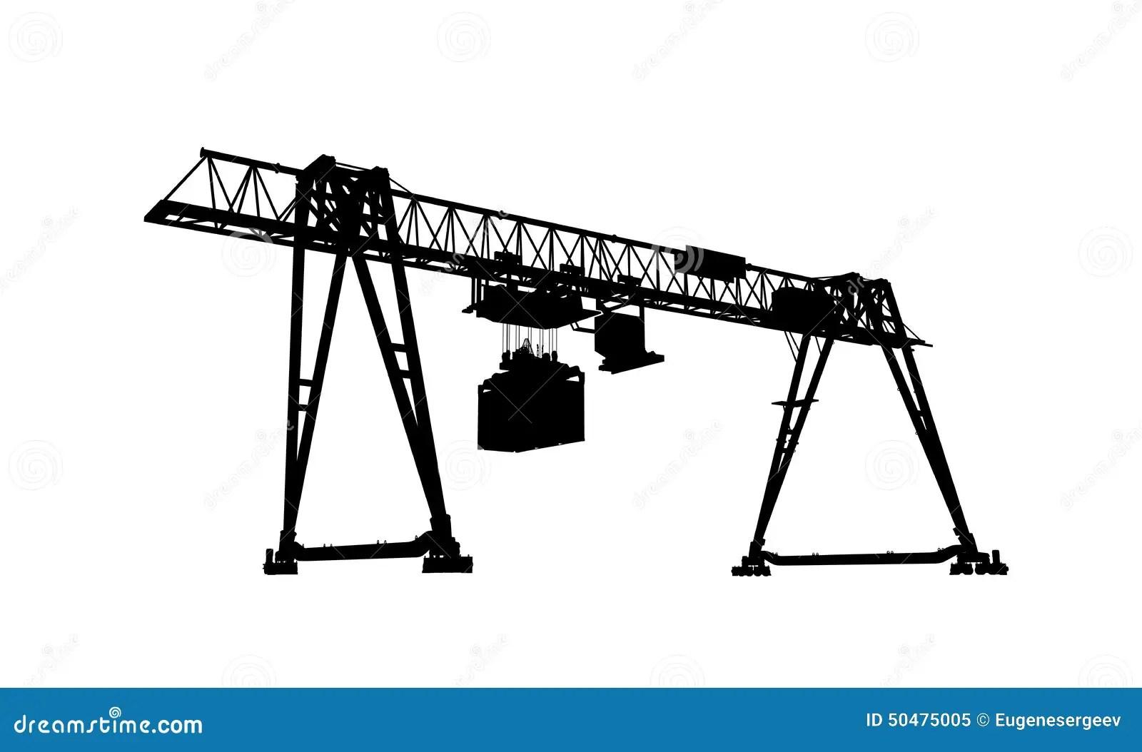 Container Bridge Crane Silhouette Isolated On White Stock
