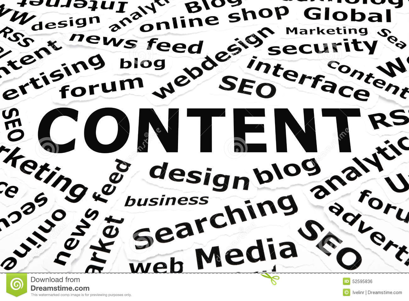 Content Paper Words Concept Stock Photo