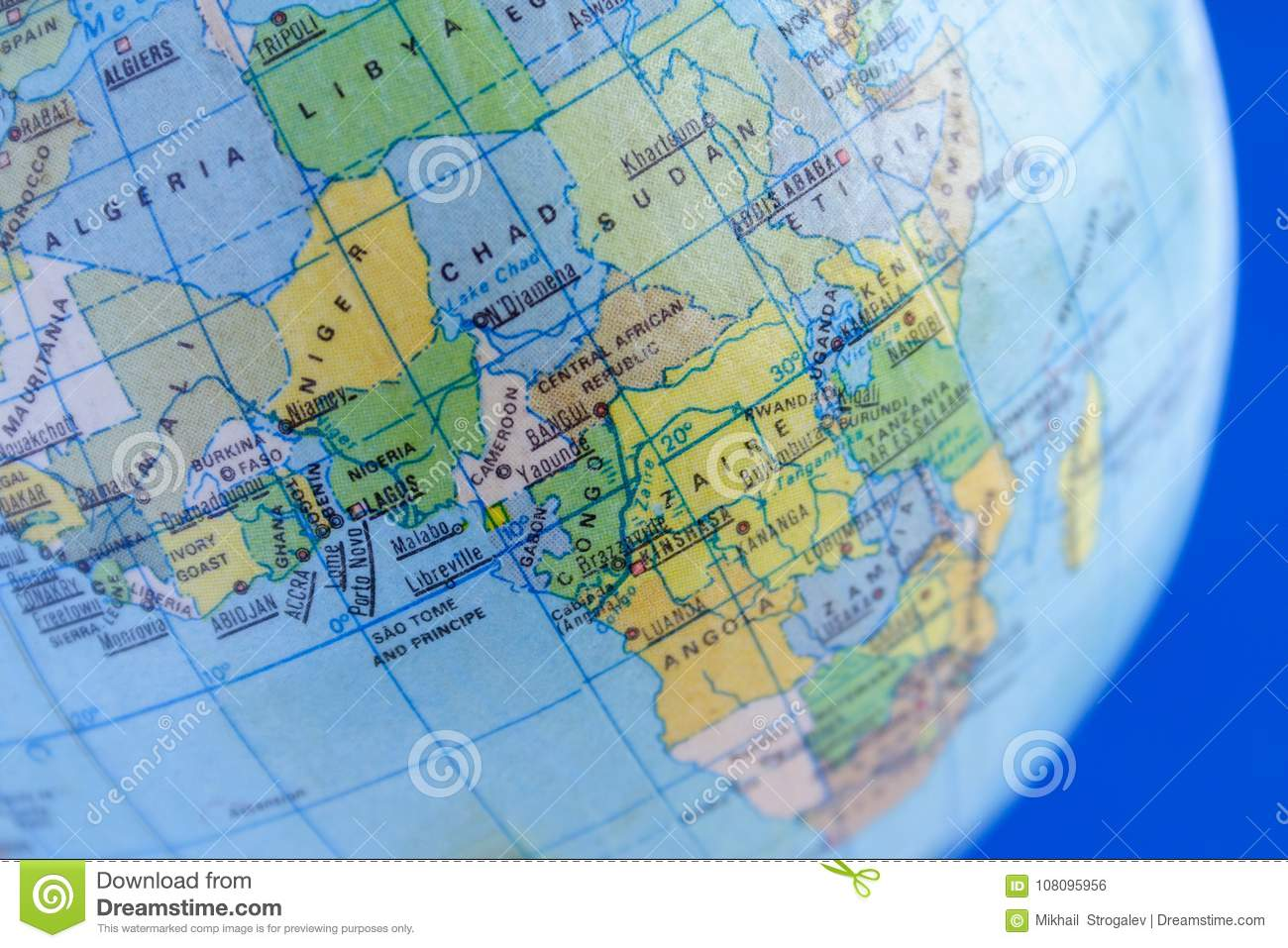 The Continent Africa On The Political Map Of Th Stock Photo   Image     Download comp