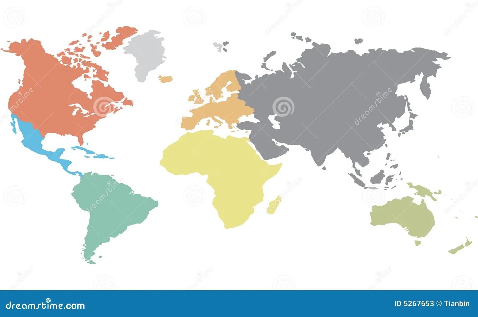 Continentale Worldmap Vector Illustratie Illustratie Bestaande Uit Regionaal