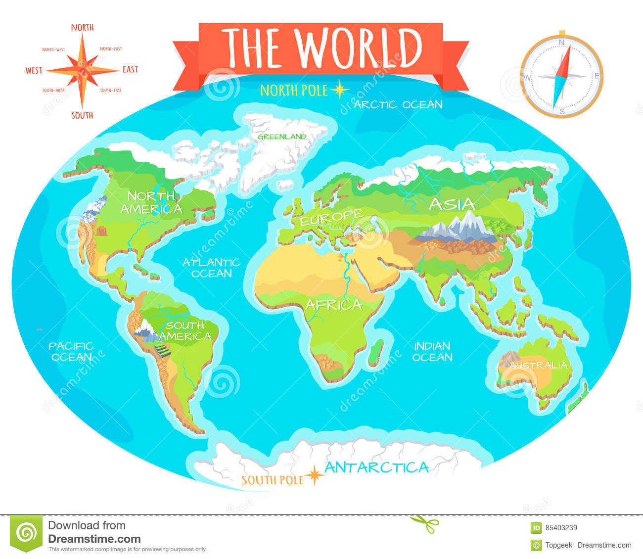 Continents Oceans On Map Of World Our Planet Stock