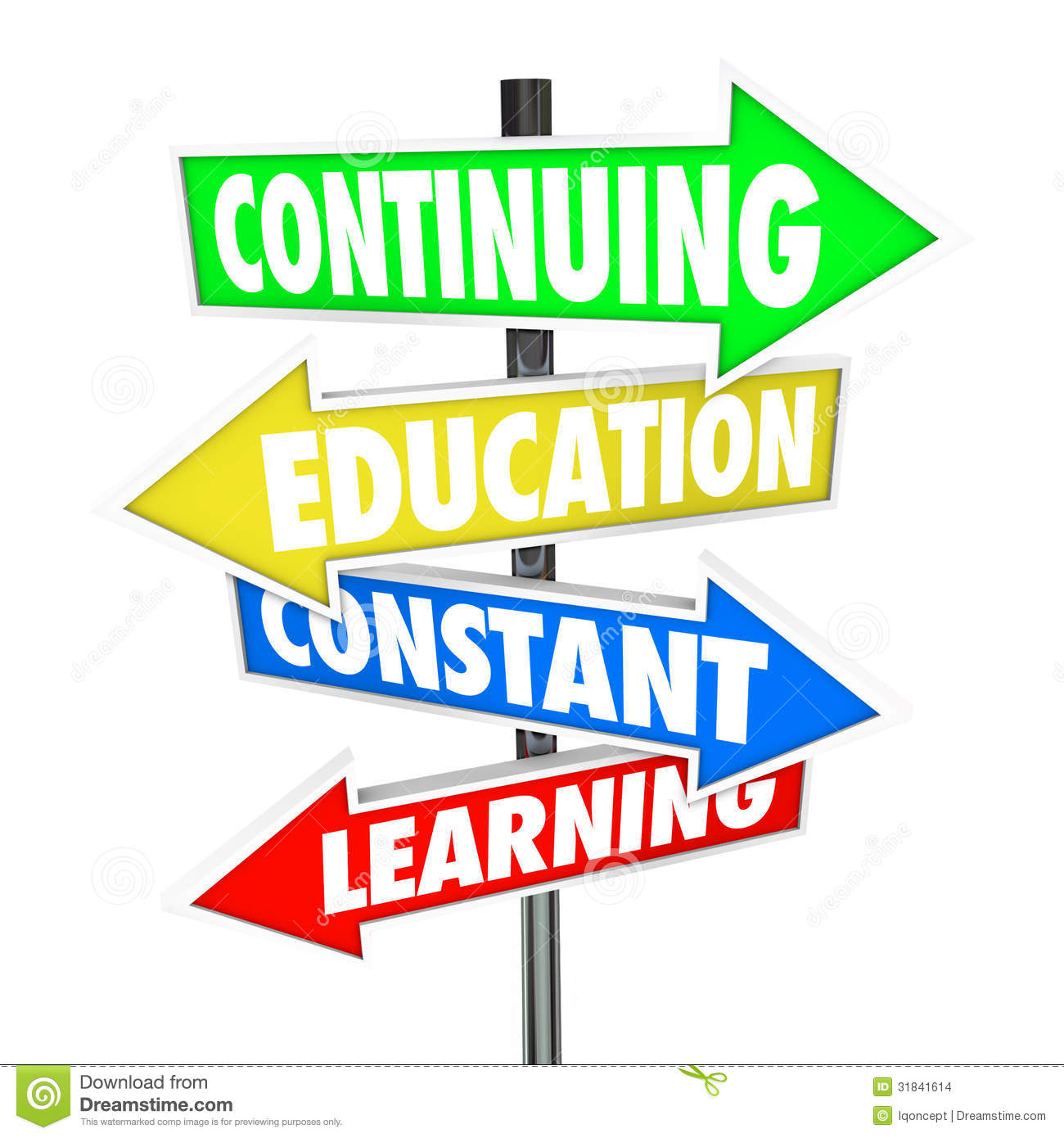 Continuing Education Constant Learning Street Signs Stock