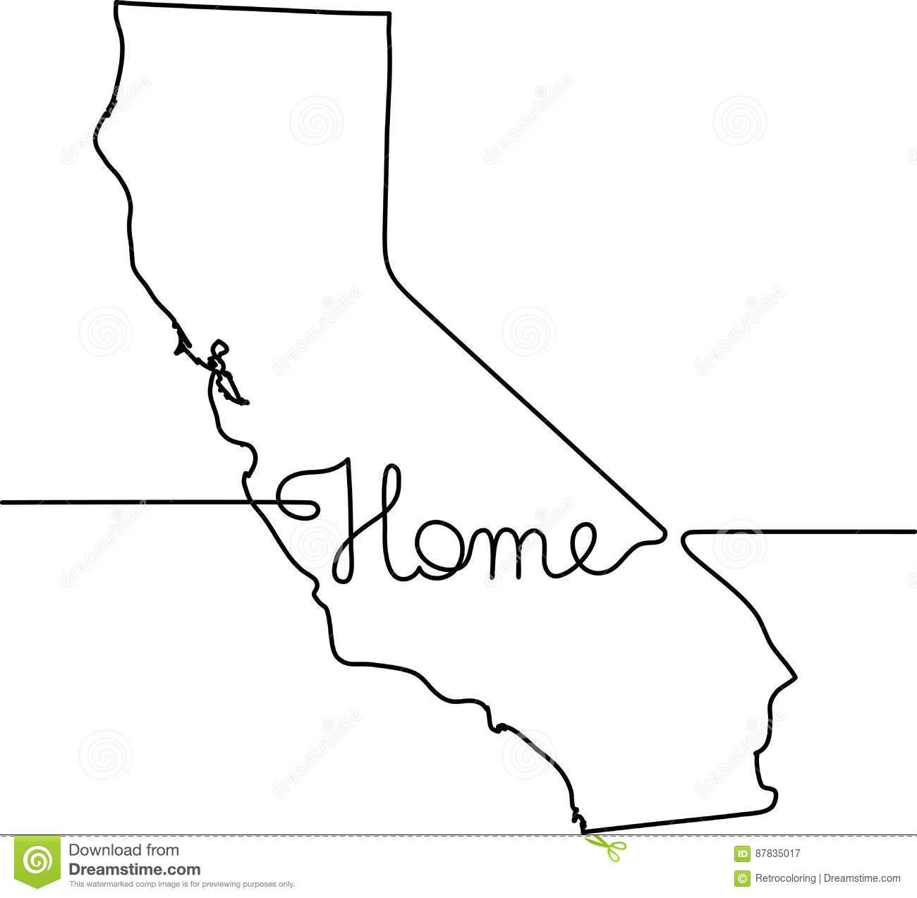 Continuous Line Drawing Of California Home Sign Stock