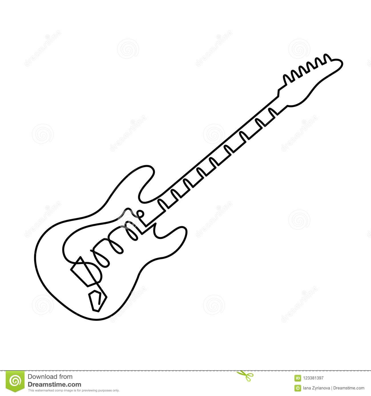 Continuous Line Drawing Of Electric Guitar Icon Outline