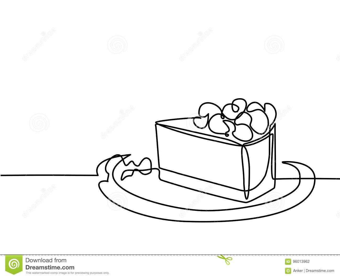 Continuous Line Drawing Of Piece Cake Stock Vector